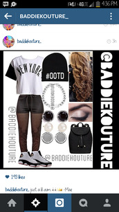 black and white,ootd,new york city,sweats,baddiekouture_,outfit,outfit idea,bag,jewels,hat