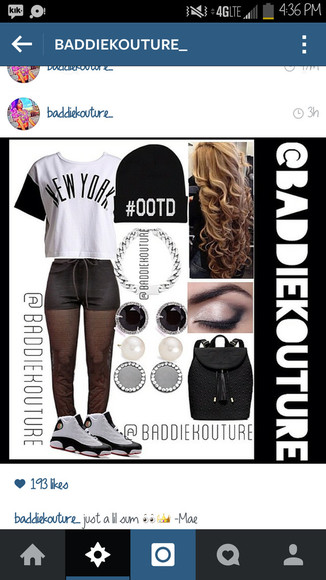 new york city black and white ootd sweatpants baddiekouture_ blaaaze outfit outfit ideas outfit idea bag jewels