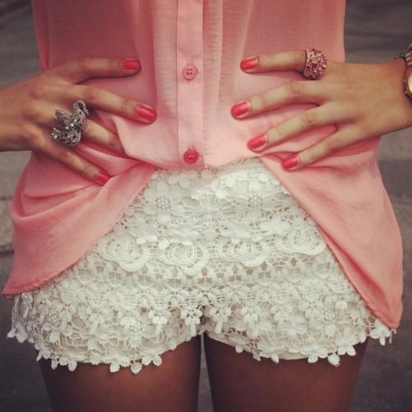shorts lace clothes white lace shorts white High waisted shorts blouse pink jewels nail polish floral flowered shorts ring spring outfits pink shirt pants