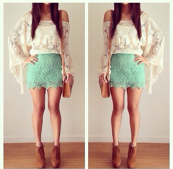 skirt belt t-shirt shoes green turquoise mint floral holey bag