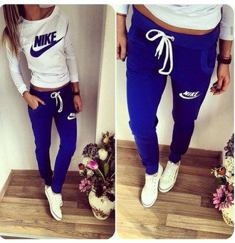 jumpsuit nike sweatpants hoodie jumper blue white grey tracksuit nike tracksuit