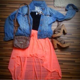 shoes wedges jean jackets skirt dress pink dress style casual dress pretty high low dress coral dress high low skirt black top denim jacket shoulder bag mules