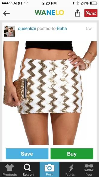 skirt chevron pattern white skirt gold sequins