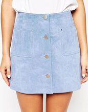skirt,blue suede skirt,blue skirt,button up skirt,mini skirt