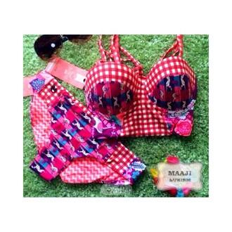 swimwear maaji bikini halter neck crop checker red pink print print bikini summer