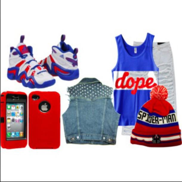 jacket dope shirt jean cutoffs denim shorts red iphone case white jordan's red beanie hat shirt