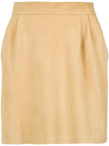 Lilly Sarti skirt pleated women leather yellow orange