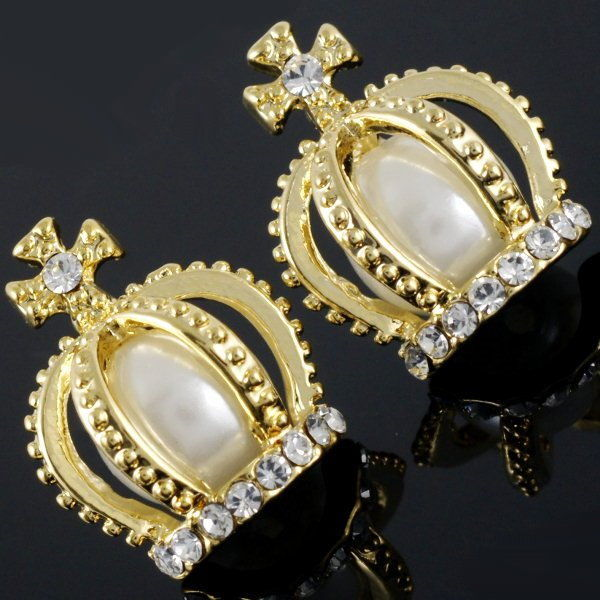 E575B Gorgeous Little Princess Crown Deluxe Crystal Faux Pearl Stud Earrings | eBay