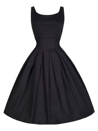 dress black dress audrey hepburn dress retro dress 50s dress 50s style hepburn style dress