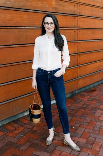 thecollegeprepster blogger blouse jeans shoes bag jewels slingbacks white shirt skinny jeans basket bag spring outfits
