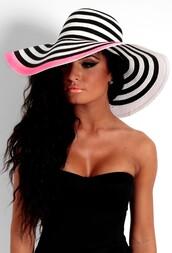oversized,stripes,sun hat,straw,hat