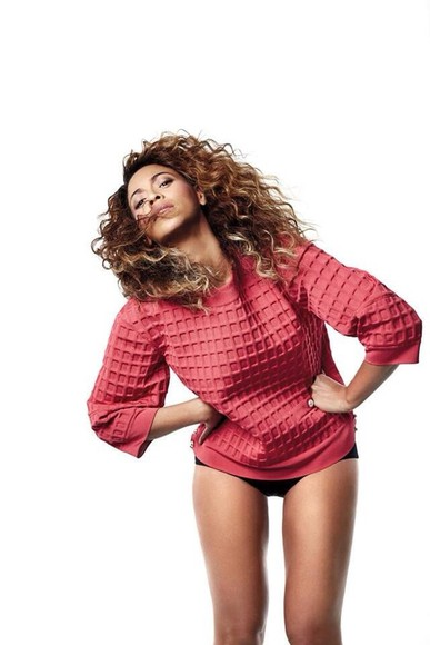 sweater beyonce jumper top shirt knitwear red orange peach waffle knit fashion vogue magazine