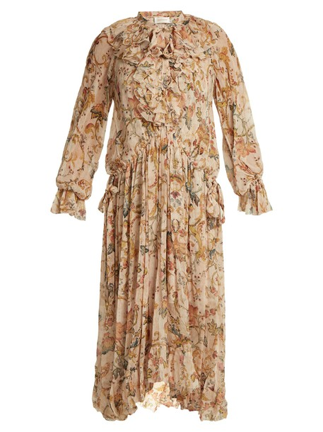 Zimmermann dress silk dress heart ruffle floral print silk pink