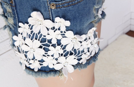 Flower Lace Shorts Jeans