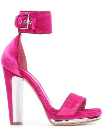women sandals leather velvet purple pink shoes