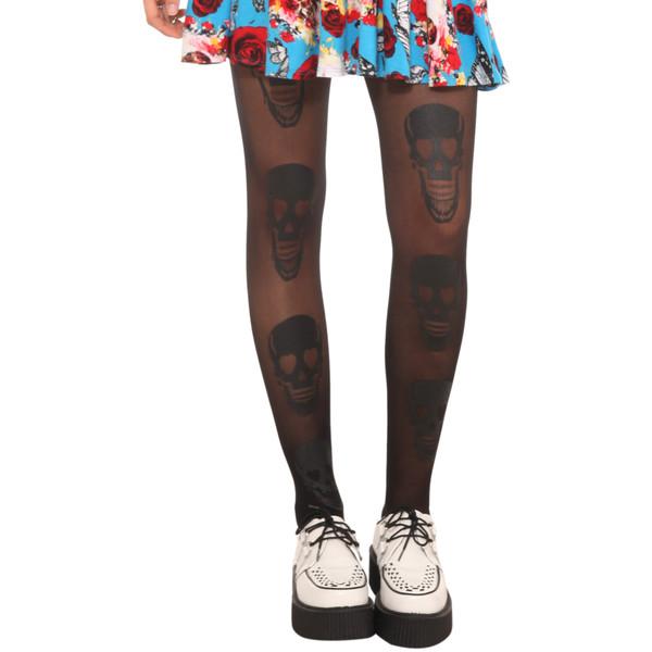Lovesick black skull tights
