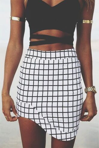 black white skirt short skirt tight tight skirt checkered.chequered rounded bodycon skirt top jewels