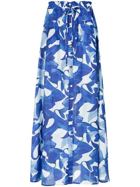 skirt long skirt long women cotton print blue
