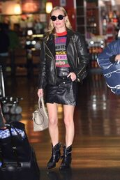 sweater,kate bosworth,fall outfits,ankle boots,mini skirt,jacket