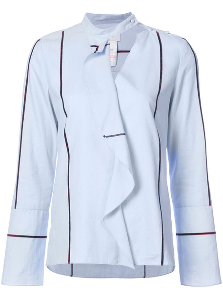 DEREK LAM 10 CROSBY shirt long ruffle women cotton blue top