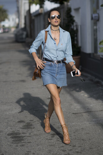 shirt skirt denim denim skirt denim shirt sandals alessandra ambrosio streetstyle model off-duty purse sunglasses choker necklace shoes all denim outfit all blue outfit