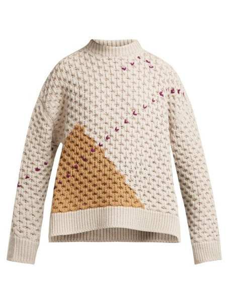 Raf Simons - Loose Knit Wool Sweater - Womens - Beige Multi