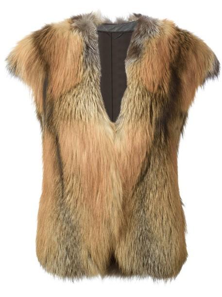 Liska coat short fur fox women nude