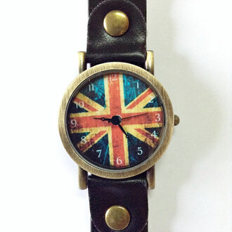 jewels watch fashion style leather watch vintage handmade etsy uk flag british flag london accessoreis