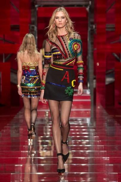 dress skirt short dress versace fashion fashion week 2015 karlie kloss