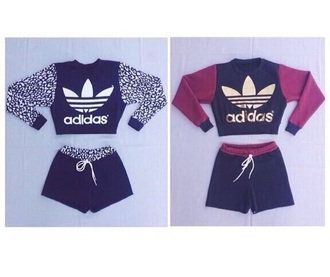 shorts adidas red dress red burgundy spotty leopard print gold black bedroom top jumper sweater