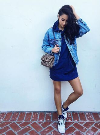 jacket dress sweater sneakers instagram shay mitchell hoodie oversized denim jacket