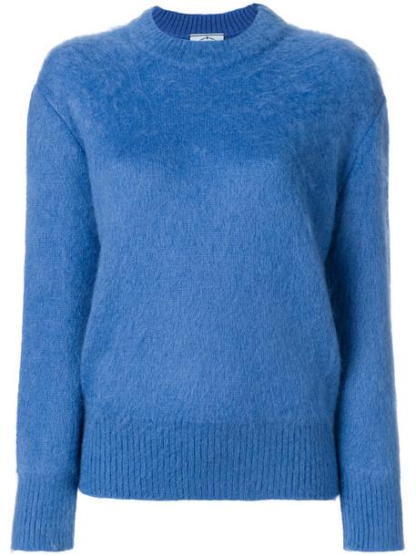 Prada - long sleeve sweater - women - Polyamide/Mohair/Wool - 38, Blue, Polyamide/Mohair/Wool