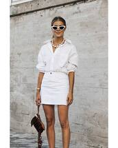 skirt,mini skirt,white skirt,bag,white shirt,necklace,sunglasses