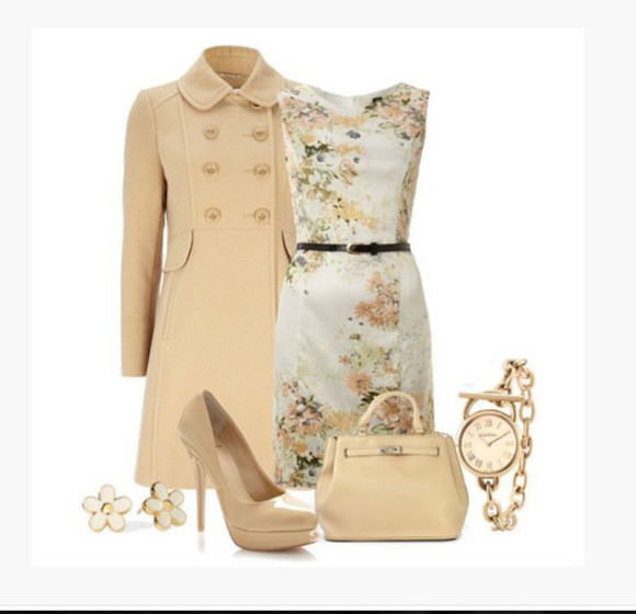 watch earrings high heels floral outfit bag jacket clothes dress medium dress pencil dress form fitting floral dress sleeveless coat double button coat pumps purse cream dress beige coat