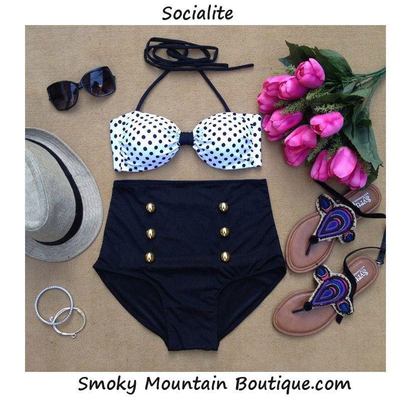 Very Cute Polka Dot Top and Black Bottom Retro High Waist Swimsuit s M L XL   eBay