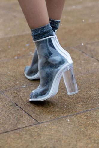 shoes transparent clear shoes clear transparent shoes mid boots peep toe boots transparent boots vue boutique grey chucky heels