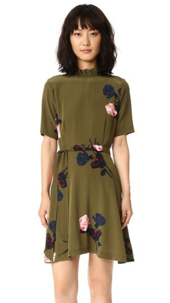 Ganni Donaldson Dress - Dark Olive Roses in rose