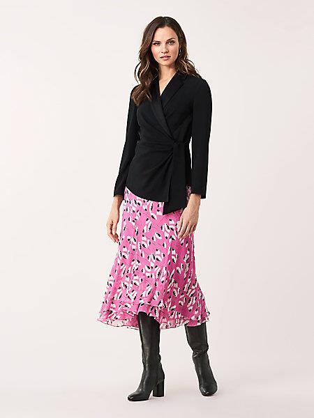 DVF Women's Lana Satin-crepe Faux-wrap Top