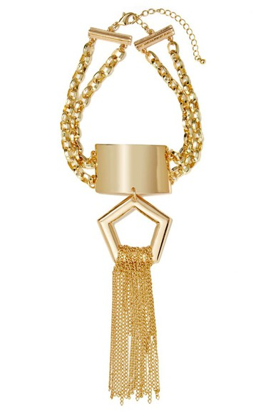 nastygal jewels necklace gold pentagon silver Choker