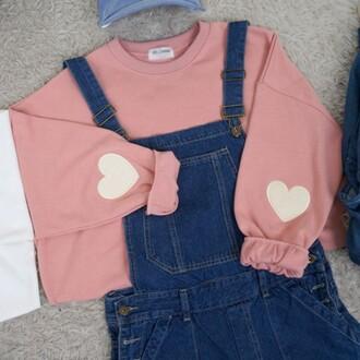 sweater heart pink cute kawaii girly long sleeves boogzel