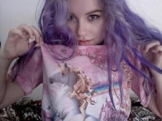 shirt purple unicorn pale cute rainbow