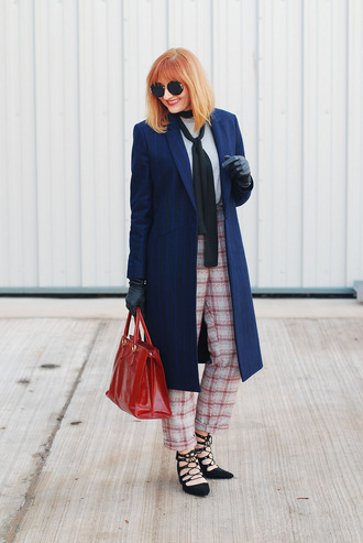 not dressed as lamb - over 40 fashion blog blogger coat pants sweater scarf shoes bag sunglasses blue coat red bag handbag high heels