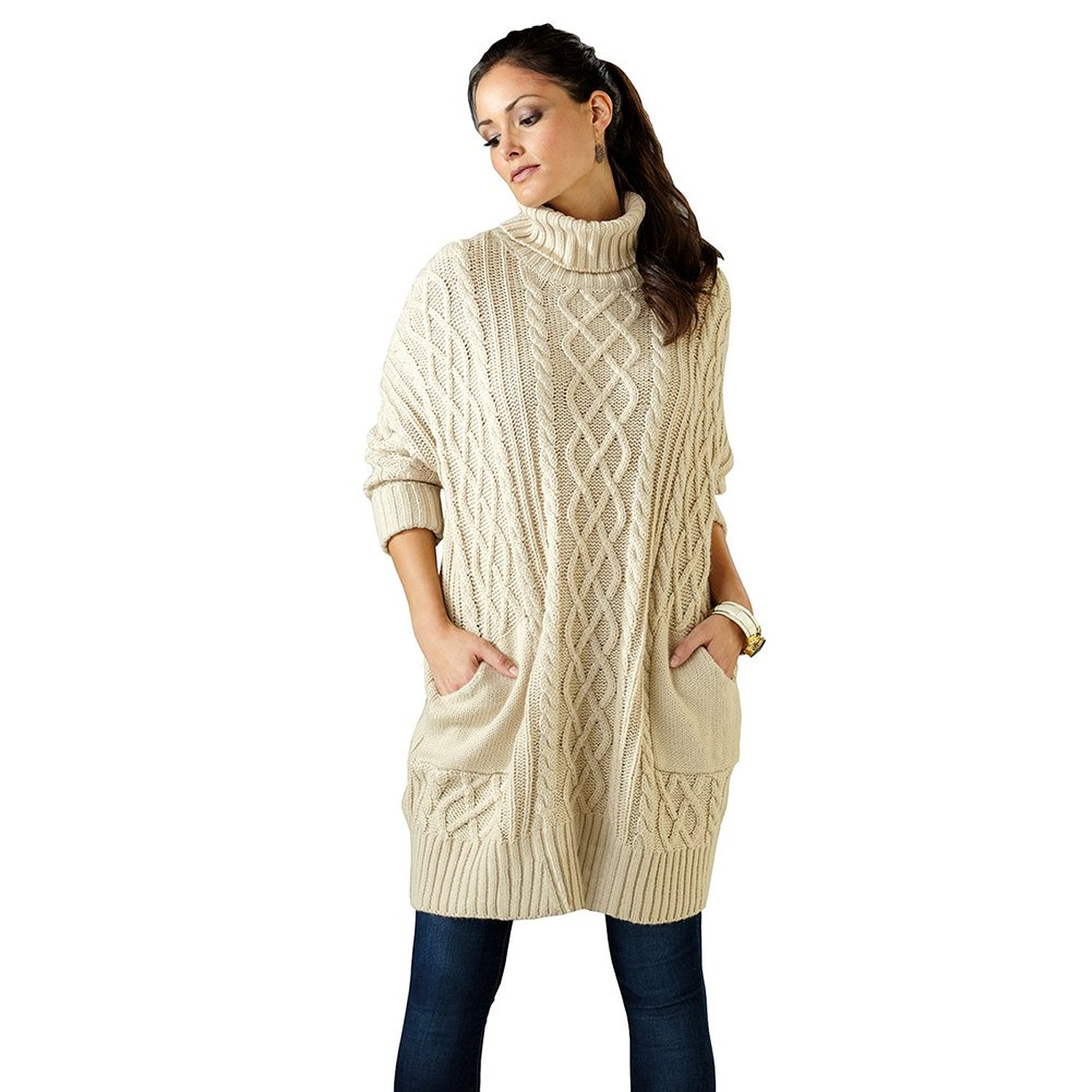 b8d012c7fa8 Aran Pullover Cowl Neck Cable Knit Sweater Dress - Cream at Amazon Women s  Clothing store