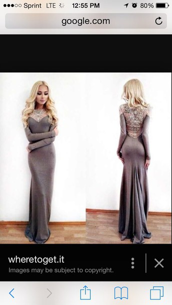 dress maxi dress gray long sleeved backless dress