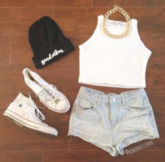 shorts denim outfit grunge tumblr festival white top chain hat jewels tank top gold beanie cut off shorts disney tumblr clothes vans shoes white converse galaxy converse shirt chain necklace