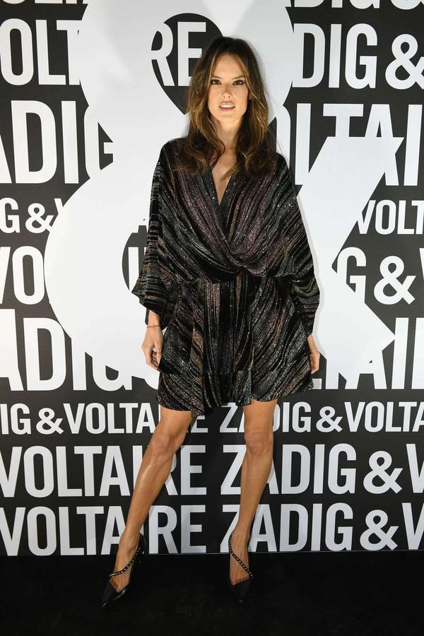 dress glitter glitter dress wrap dress alessandra ambrosio model off-duty mini dress pumps celebrity
