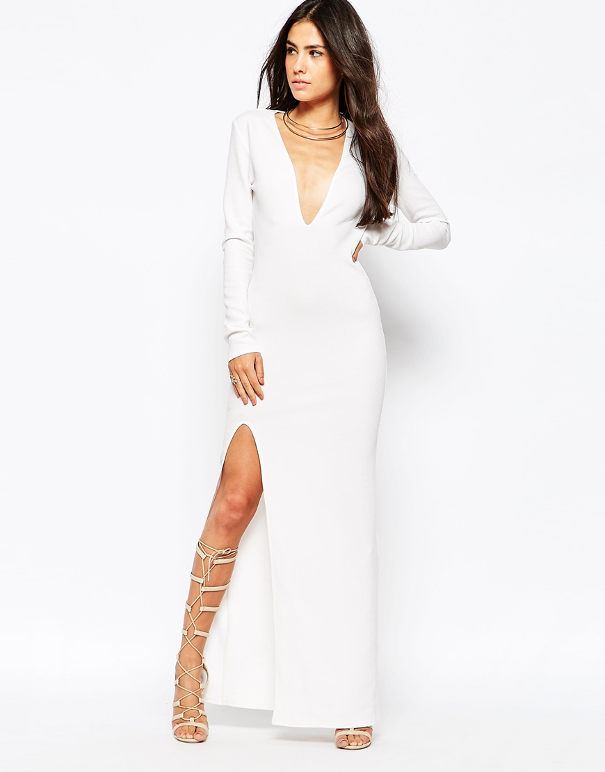 L Maxi Dress with Deep Plunge and Thigh Split at asos.com