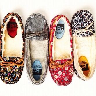 shoes moccasins floral
