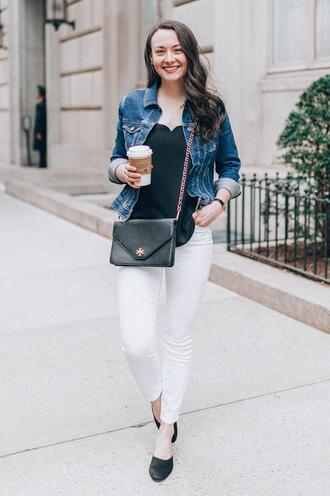 thecollegeprepster blogger tank top jacket jeans jewels denim jacket crossbody bag white pants spring outfits