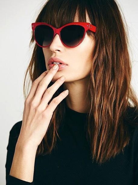le fashion image blogger cat eye red sunglasses sunglasses